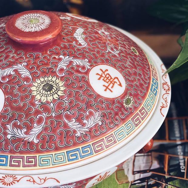 Mun Shou Longevity Chinese Red Enamel Covered Tureen