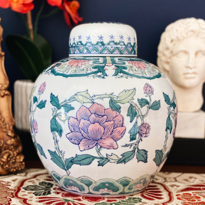 Large Pink Lotus Ginger Jar With Flat Top