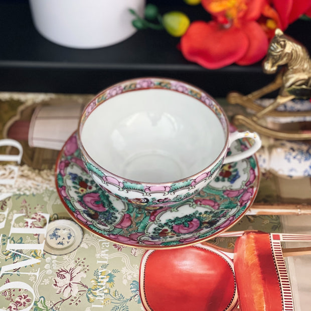 Famille Rose Canton Teacups & Saucers Set
