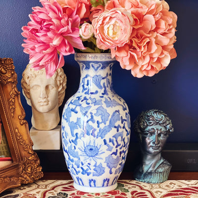 Blue & White Chinoiserie Floral Vase