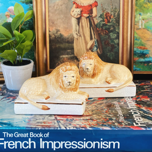 Vintage Pair Staffordshire Lion Bookends
