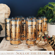 Mid-Century Culver 22K Gold Highball Glasses