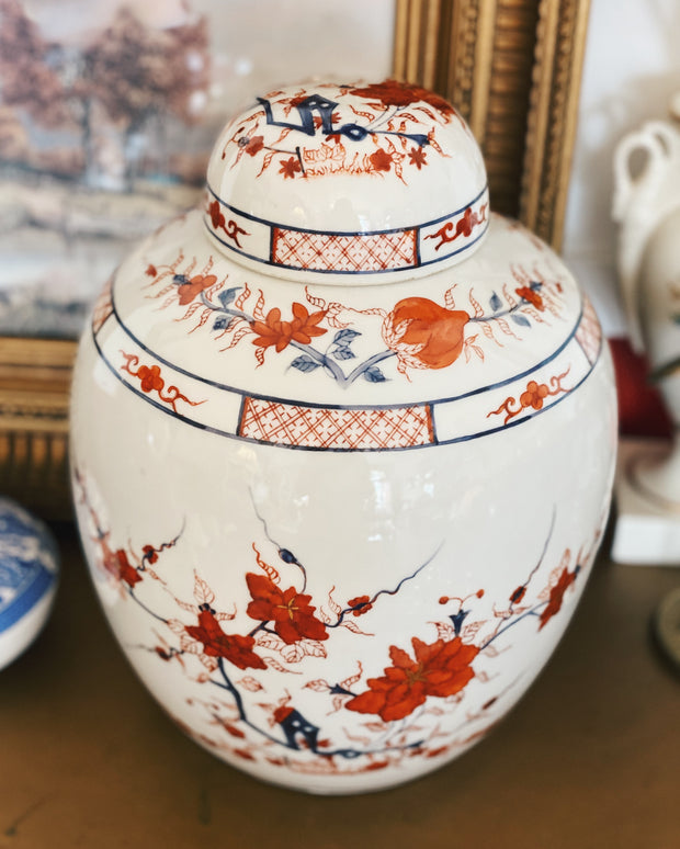 Large Orange Cherry Blossoms Ginger Jar With Flat Top