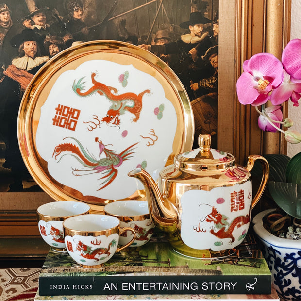 Vintage Chinese Gold Dragon & Phoenix Tea Set