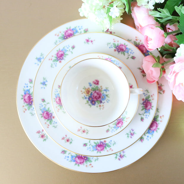 pink rose dinner place setting