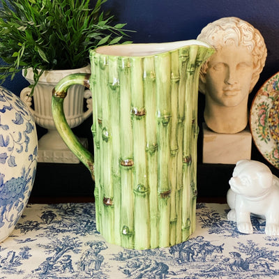 Large Green Bamboo Ceramic Pitcher
