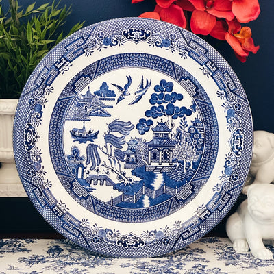 Oversized Blue Willow Round Plate by Churchill