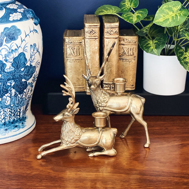 Pair Solid Brass Reindeer Candle Holders