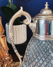 Vintage Italian Diamond Cut Glass Carafe With Lions Head Silver Spout