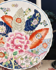 Vintage Chinoiserie Tobacco Leaf China Plate