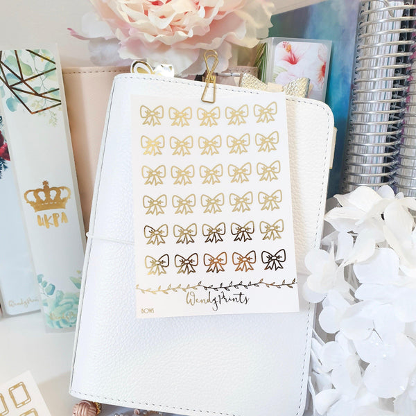 Bow Icons| Clear Transparent | Foiled Stickers (F75) - WendyPrints