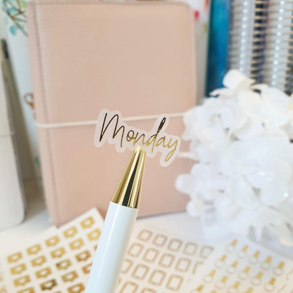 Days of the week Foil Script Stickers | Clear Transparent | Foiled Stickers (F80) - WendyPrints