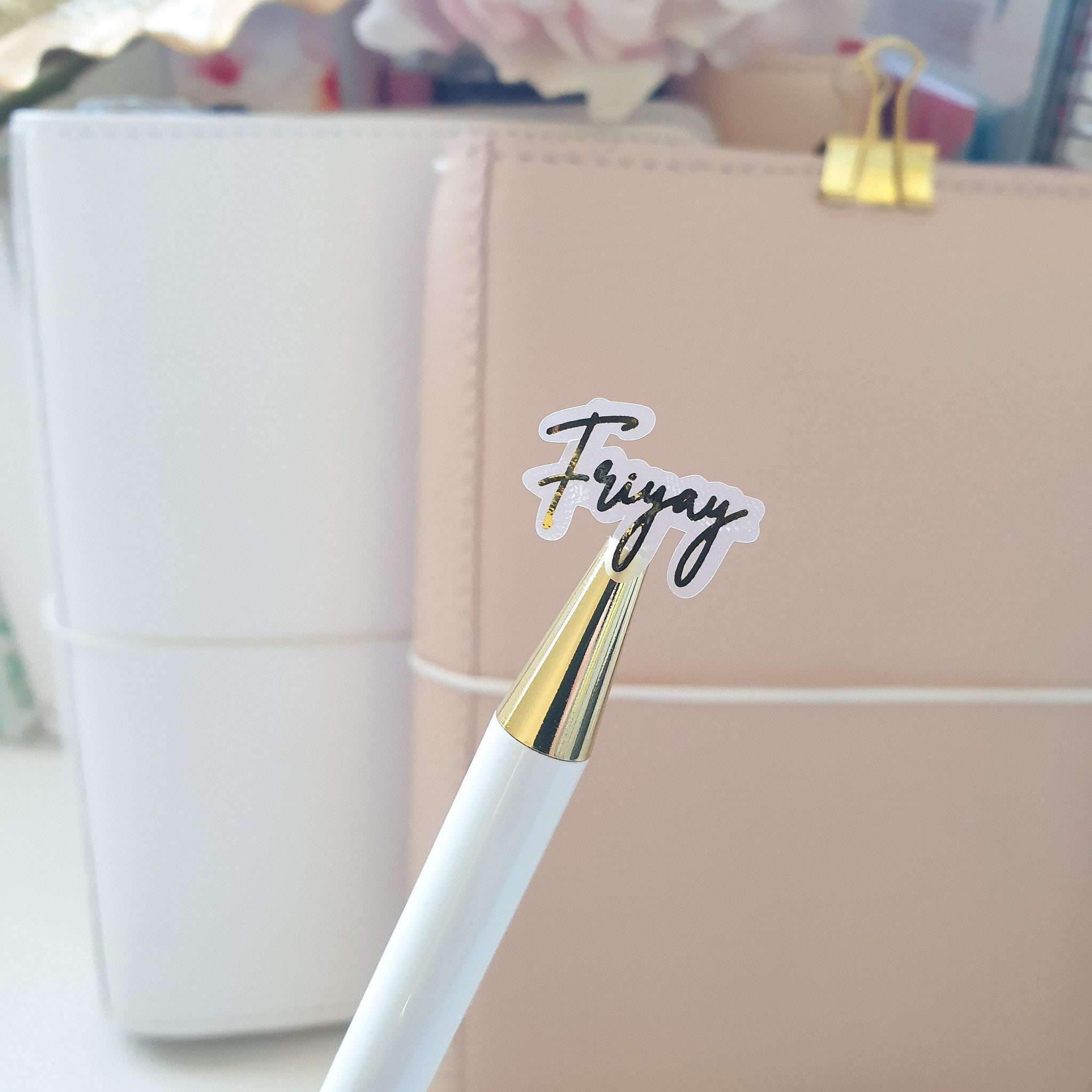 Friyay Foil Script Stickers | Foiled Stickers (A09)