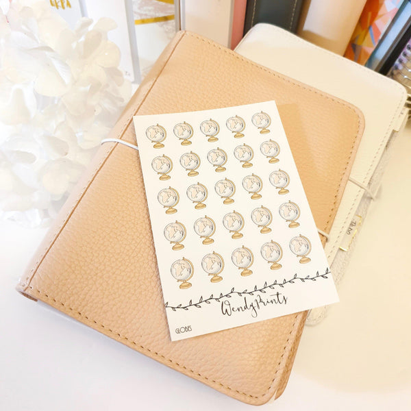 Globe Icon Sticker, Planner Stickers (W99) - WendyPrints