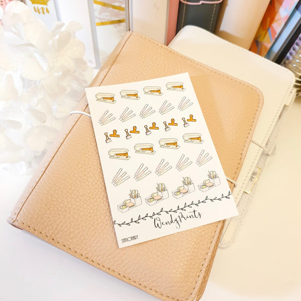 Stationery Icon Sticker, Planner Stickers (W105)