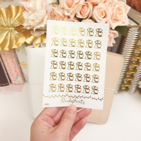 Baking Icons | Clear Transparent | Foiled Stickers (F82) - WendyPrints