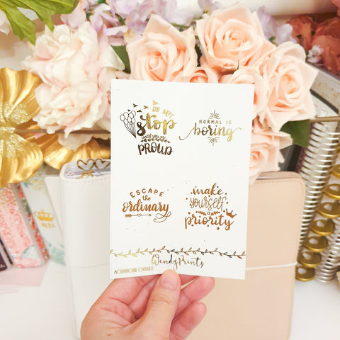 Motivational Quotes Full Box Overlays | Clear Transparent | Foiled Stickers (F116)