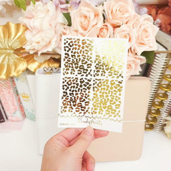 Cheetah Full Box Overlays | Clear Transparent | Foiled Stickers (F113)