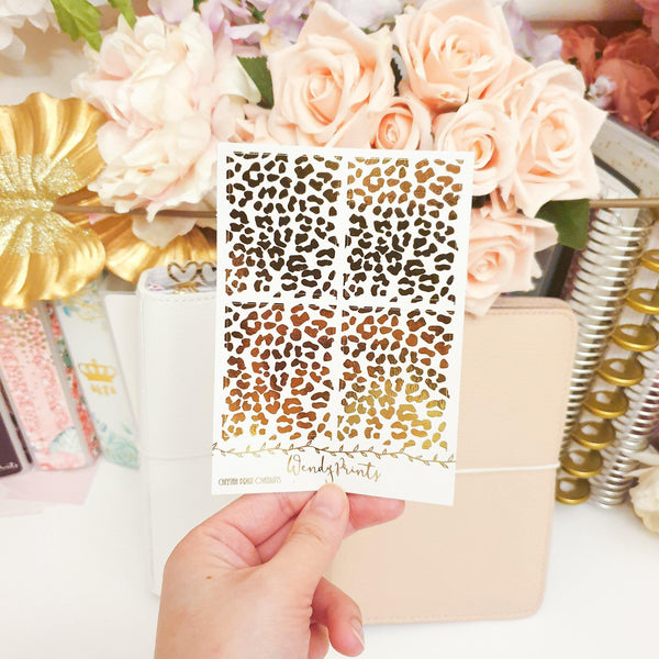 Cheetah Full Box Overlays | Clear Transparent | Foiled Stickers (F113) - WendyPrints