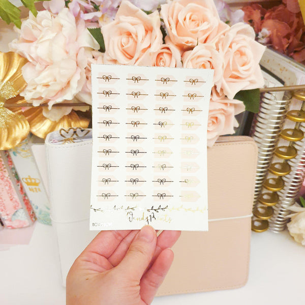Blush Pink Foil Bow Arrows| Foil Stickers (F118) - WendyPrints