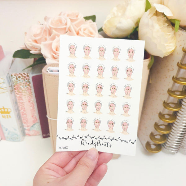 Face Mask Facial Icon Sticker, Planner Stickers (W55)
