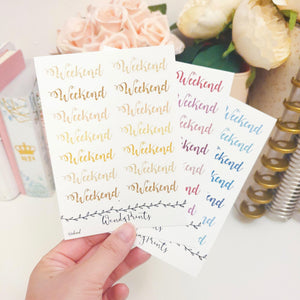 Faux glitter weekend banners, planner stickers (W20)