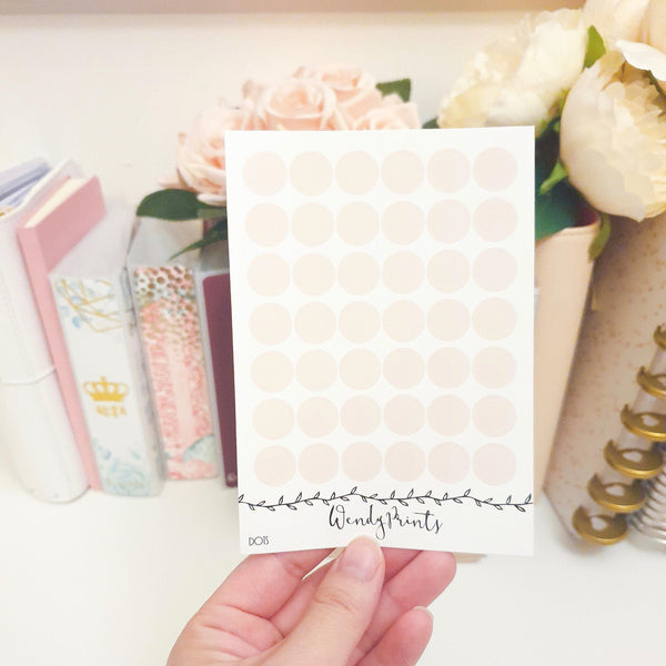Blush Pink Dot Sticker, Planner Stickers (W30)