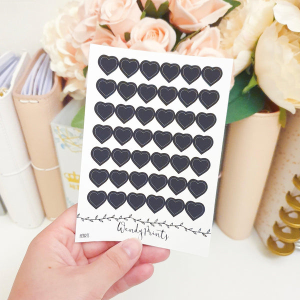 Black Heart Sticker, Planner Stickers (W117) - WendyPrints