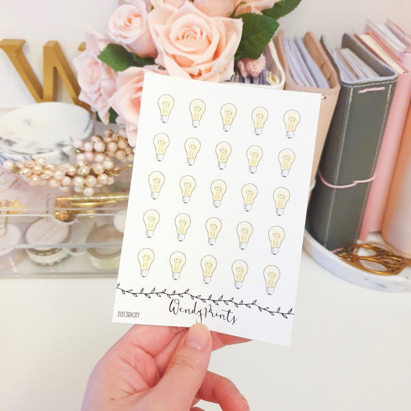 Electricity Icon Sticker, Planner Stickers (W123) - WendyPrints