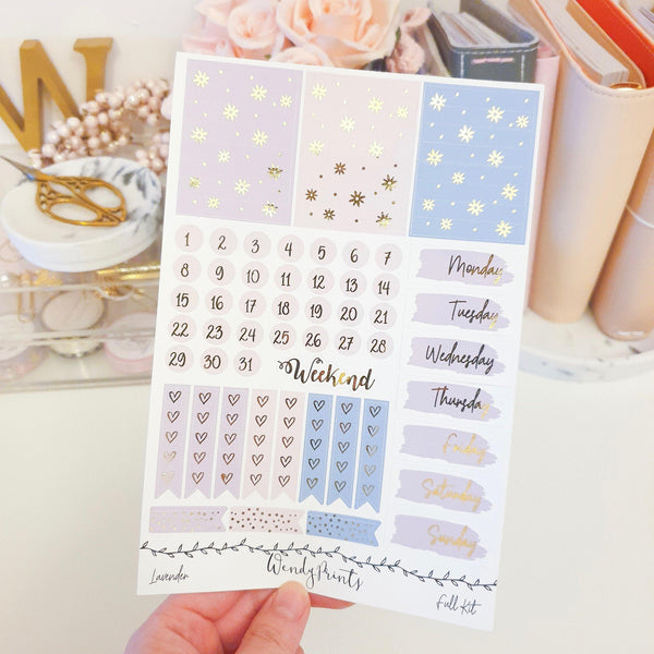 Lavender, Gold Foiled Weekly Kit (K81) - WendyPrints
