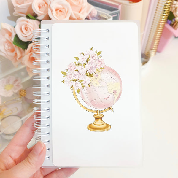 Floral Globe, LARGE (5x7 inches), Reusable Sticker Book