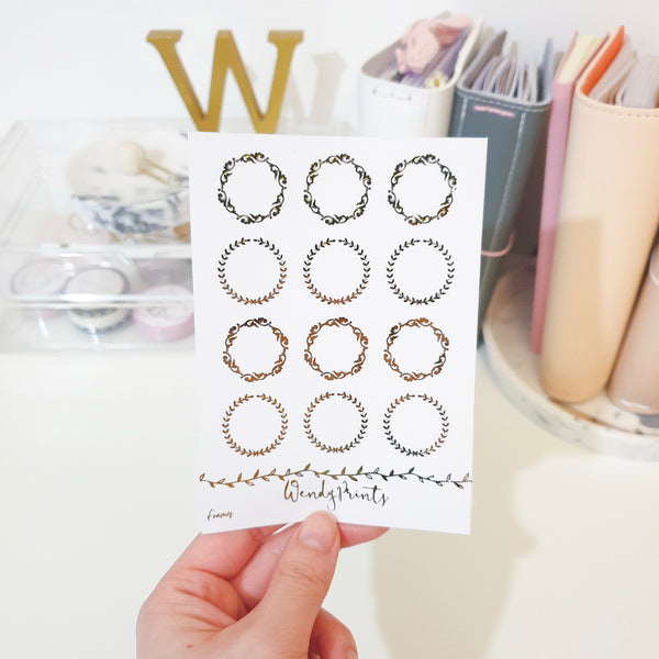 Round Floral Frames, Foiled Stickers (F12)