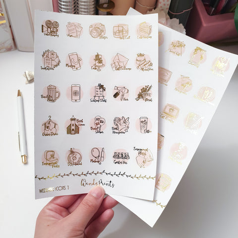 Wedding icons , Foiled Stickers (F49)