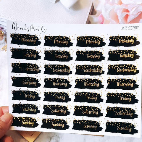 Black confetti date covers, Foiled Stickers (F01)