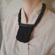 Load and play video in Gallery viewer, Bold Necklace - Textile necklace with big chunky lava stones