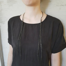 Load and play video in Gallery viewer, Buzy Necklace - Black Fringe Necklace