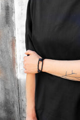 Black link and leather bracelet - MERCe