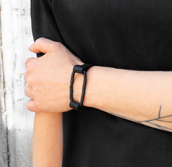 Cero Bracelet - Black link and leather bracelet - MERCe