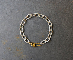 Acid White Bracelet - Sterling Silver Link Chain Bracelet - MERCe