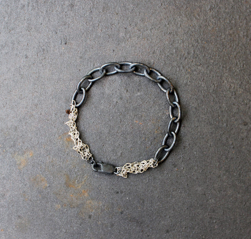 Acid Black Bracelet - Oxidized Link Chain Bracelet - MERCe