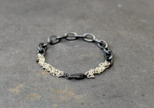 Load image into Gallery viewer, Acid Black Bracelet - Oxidized Link Chain Bracelet - MERCe