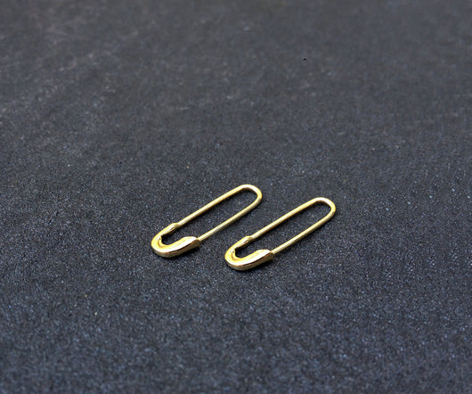 Safety Pin Earrings - Gold Jewelry