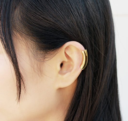 Tunnel Gold Earring - Gold Ear Cuff, Wide Helix Earring - MERCe