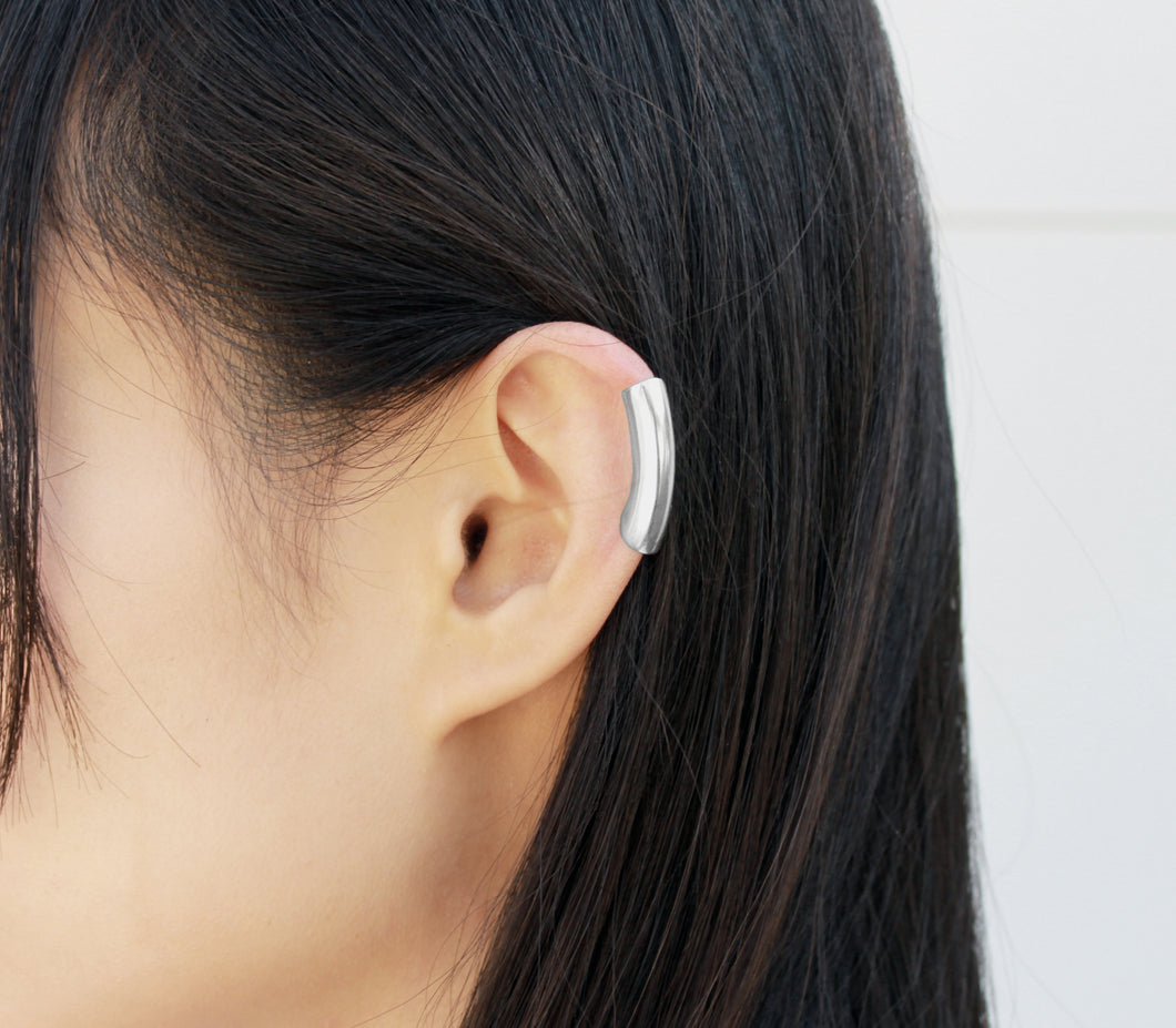 Tunnel - Silver Ear Cuff, Silver Helix Earring - MERCe