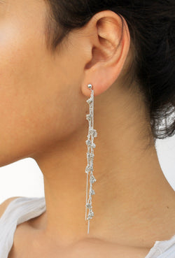 Punt Earrings - Long Silver Earrings - MERCe