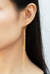 Racimo Gold Earrings - Gold Long Earrings, Extra Long Earrings - MERCe