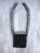 Load image into Gallery viewer, Bold Necklace - Textile necklace with big chunky lava stones - MERCe