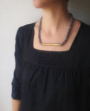 Load image into Gallery viewer, Gris Necklace - Long Boho Gray Stone Necklace - MERCe
