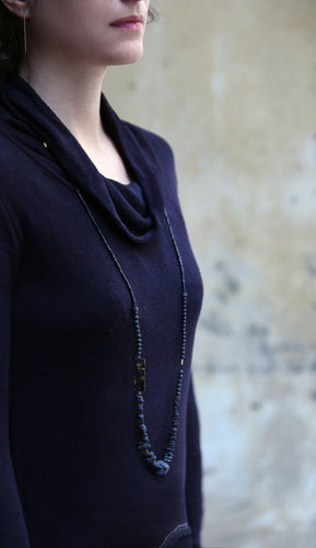 Negro Necklace - Long Black Leather and Stones Necklace - MERCe