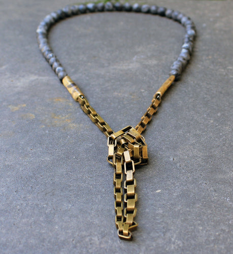 Nolla Necklace - Long Stone and Bronze Chain Necklace - MERCe